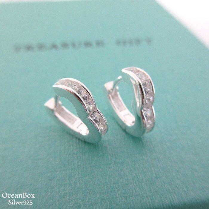 ☆§海洋盒子§☆精緻透明鋯石。愛心易扣針式耳環OB3579(A)《925純銀耳環》