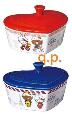 7-11 LINE FRIENDS & Hello Kitty聯名造型食器愛心形盤子 陶瓷烤皿碗可微波 日本或法國 情侶 台中市