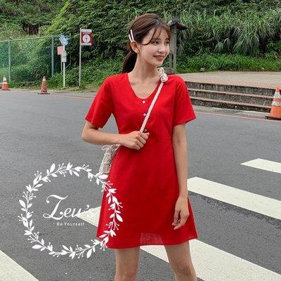【ZEU'S】簡單休閒綁帶收腰洋裝『 06219615 』【現+預】FA
