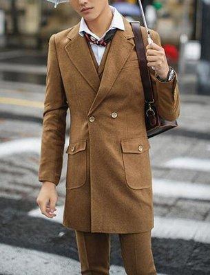FINDSENSE品牌 韓國男 雙排扣中長款呢料西裝 三件式西裝外套 成套西裝 修身西裝 西裝外套 外套+背心+褲子