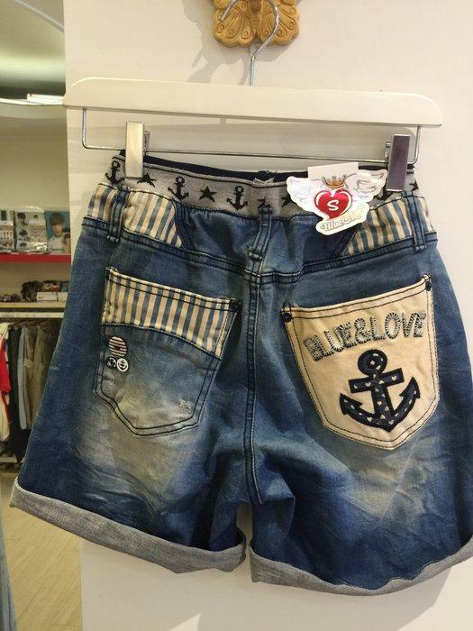 【江南小舖】正韓-船錨牛仔短褲***零碼出清