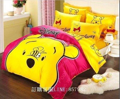 [王哥廠家直销]迪士尼 全棉卡通泰迪熊 維尼熊 淘氣維尼 床套(單人/ 雙人/加大)床包 床單 床罩 床品 床組 四件套