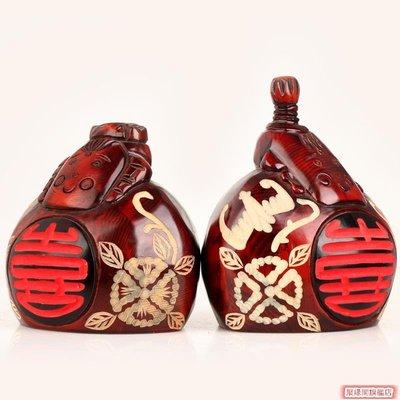 風水白頭偕老存錢罐復古擺件木雕儲蓄罐結婚辦公禮品裝飾品JYG310025-【聚緣閣】