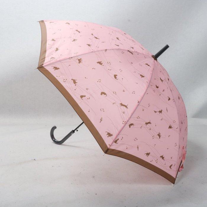 奇奇店-尼龍布粉棕色音符可愛小貓咪長款女士自動雨傘#加固 #小清新 #晴雨兩用