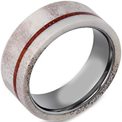 coi jewelry tungsten carbide wood deer antler wedding band ring 戒指 all sizes