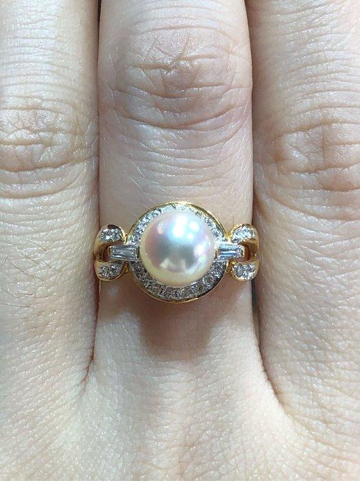 8mm天然日本珍珠鑽石戒指,珍珠光澤漂亮,珠皮厚度厚,優雅大方款式設計,珍珠正圓,出清特價19800