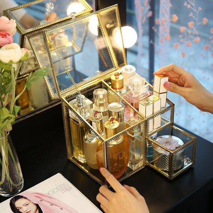 金色復古銅邊玻璃化妝品收納盒唇釉刷具筒女宿舍口紅防塵彩妝桶子-青木居家