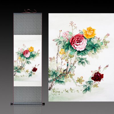 奇奇店-茶館花卉字畫卷軸茶花圖裝飾古典...