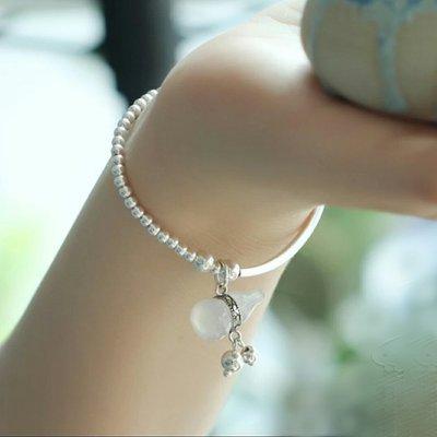 嗨,寶貝純銀珠寶* 925純銀飾品☆復古風 時尚精品 細緻 保平安 添福壽 白玉髓葫蘆純銀手鍊