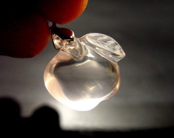 小風鈴~天然18mm頂級近全美精雕蘋果冰種星光粉晶墜~單顆起標!