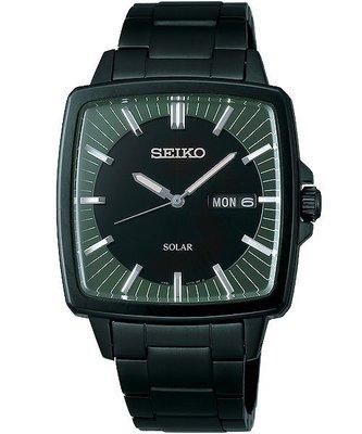 SEIKO SPIRIT 太陽能經典腕錶(SBPX037J )-黑x綠/36mm V158-0AF0SD