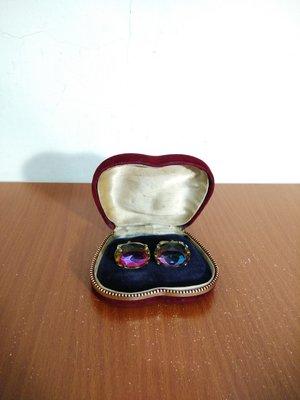 vintage 美國製 Swank 彩色寶石 古著 英倫 紳士 袖扣
