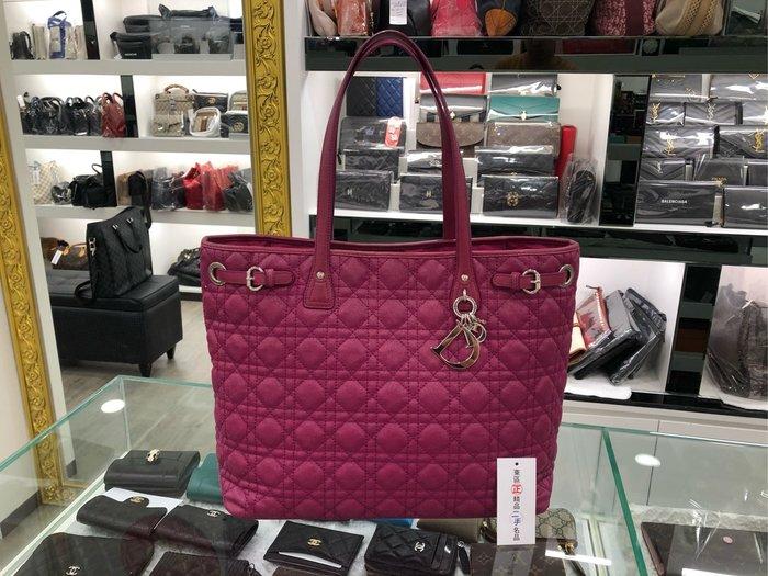 ㊣東區正精品㊣Christian Dior CD 紫色全皮銀釦肩背包購物包 RZ1840
