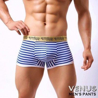 滿千送120ML潤滑液-VENUS海軍風時尚條紋男士四角褲內褲藍T058