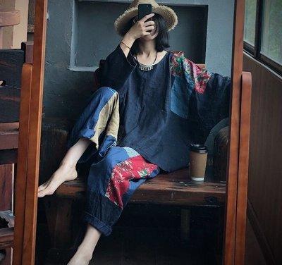 【子芸芳】大碼原創水洗純亞麻個性拼布寬鬆小眾亞麻衫