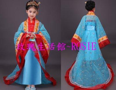 【玫瑰生活館】~兒童華麗皇后服,兒童唐朝繡花妃子服,不含頭飾跟飾品,粉,藍,紅, 有成人