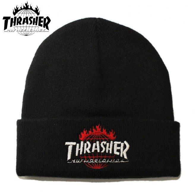 【超搶手】 全新正品 美牌 聯名 HUF x THRASHER TDS BEANIE 火焰刺繡 反摺 毛帽