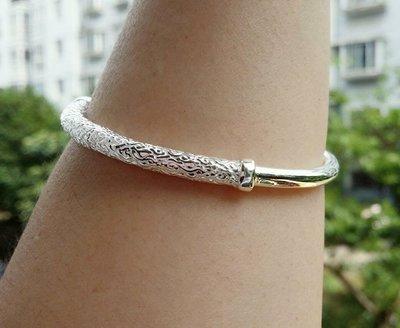 嗨,寶貝銀飾珠寶* 925純銀☆999純銀 金箍棒(愛妳五百年 祥雲圖騰實心 開口純銀手環 手鐲