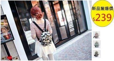 茱麗ya~〈C35》學院風新款迷你雙肩包女帆布可愛學生後背包手提包