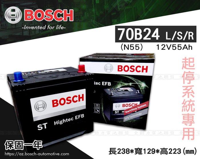 全動力-BOSCH 博世 日規電池 起停系統適用 70B24L (12V55Ah) N55 直購價 同55B24 46B