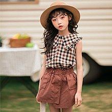 中大童 優質 女童【Q寶童裝】夏款 HEN-168 棉麻格紋翻領背心+不規則拼接短裙 套裝