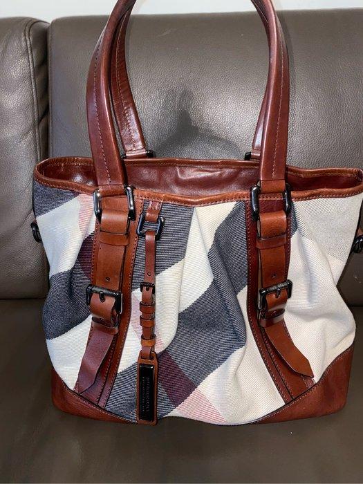 我的二手包❤️九成新BURBERRY 經典 格紋 帆布 皮革 拼接 拚色 手提包 肩背包 兩用包 大容量