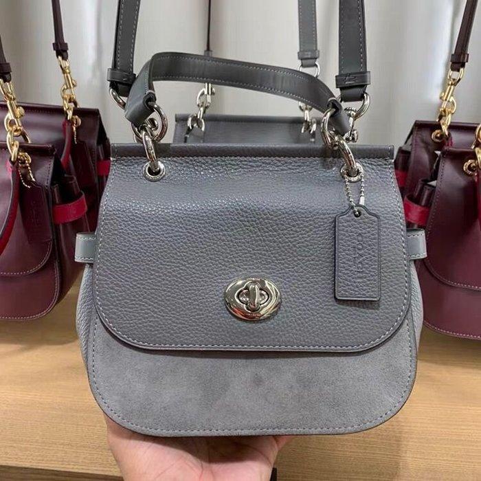 小皮美國正品代購 COACH 79991 新款女士手提包 全素色翻蓋旋扣單肩斜挎包 小巧實用 附購證