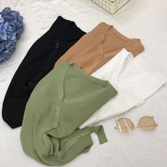 針織修身v領t恤女短袖2019新款夏裝打底衫抹茶綠不規則牛油果T恤