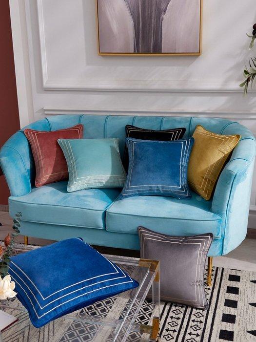 絲絨抱枕現代簡約沙發靠墊輕奢黃色天鵝絨靠枕套不含芯藍色正方形星期八 貨到付款抱枕 枕頭 方枕