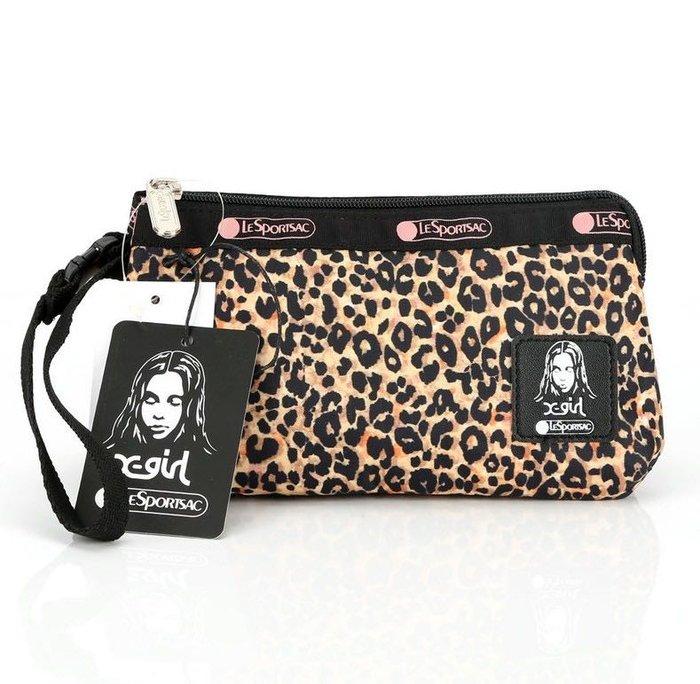 LeSportsac 小豹紋 8105 手掛繩多夾層化妝包 零錢包 收納包 降落傘防水 限量