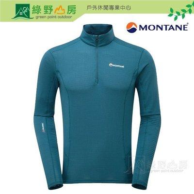 綠野山房》Montane男輕暖抗菌高拉上衣Allez Micro Pull-On拉鍊保暖衣細刷毛登山 斯卡藍 MAMPO