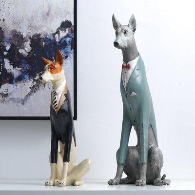 娜個小屋美式鄉村簡約時尚創意家裝飾品仿真動物可愛杜賓犬工藝品擺件客廳選項不同 價格不同