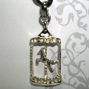 琥珀貓銀飾DIY【925純銀飾品】墜飾~N9990~旋轉木馬~一個