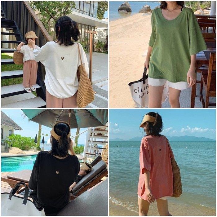 【小阿霏】成人款 親子裝母女裝 短T-shirt 純棉後背愛心寬鬆夏上衣短袖上衣 大碼2XL可穿FA06