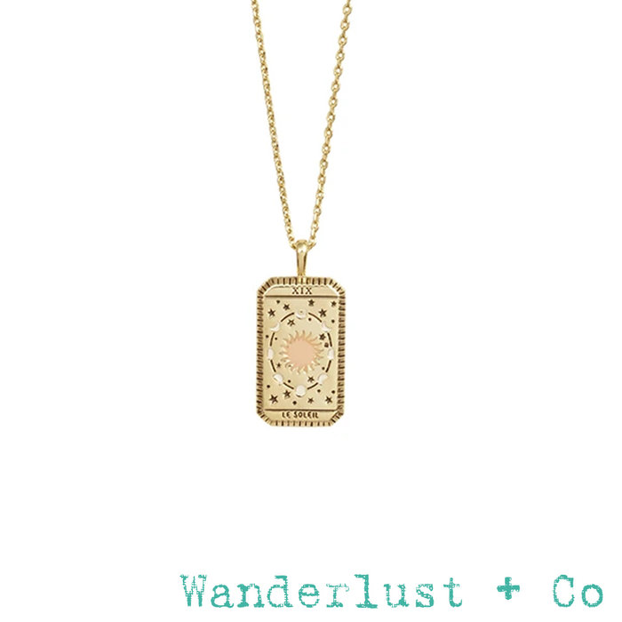 Wanderlust+Co 金色太陽神項鍊 長方形錢幣項鍊 Le Soleil