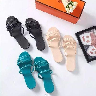 ✤寵愛Pamper for you✤HERMES愛馬仕豬鼻子鏈條皮底涼拖鞋