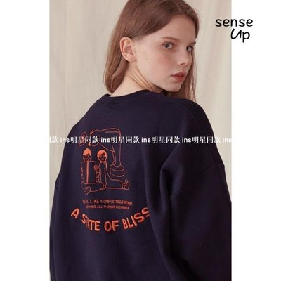 ins明星同款女裝SENSE20新款秋韓國正品AMBLE新R設計師品牌字母圓領寬松衛衣OP60