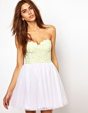 現貨UK 12  英國品牌Lashes Of London白色蕾絲配黃色露肩平口洋裝禮服  正品代購
