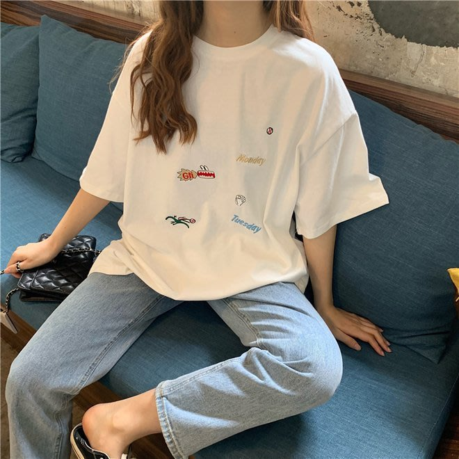 FINDSENSE G6 韓國時尚潮流 2019夏季新款寬鬆百搭刺繡圓領T恤短袖T恤打底衫女裝上衣
