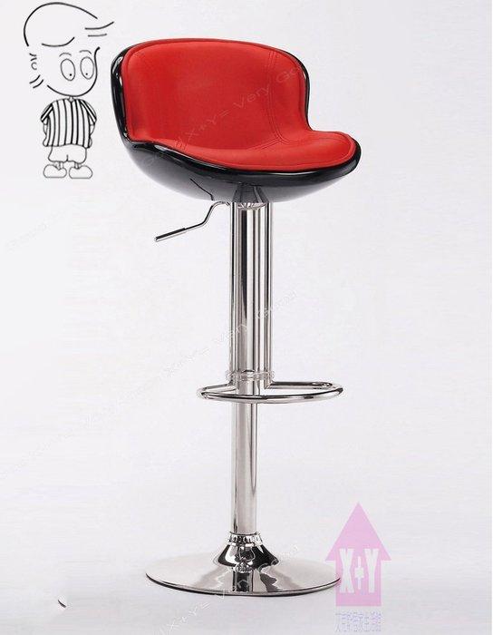 【X+Y時尚精品傢俱】現代吧檯椅系列-瓦特 吧台椅(紅黑色)-玻璃纖維+電鍍合金腳.摩登家具