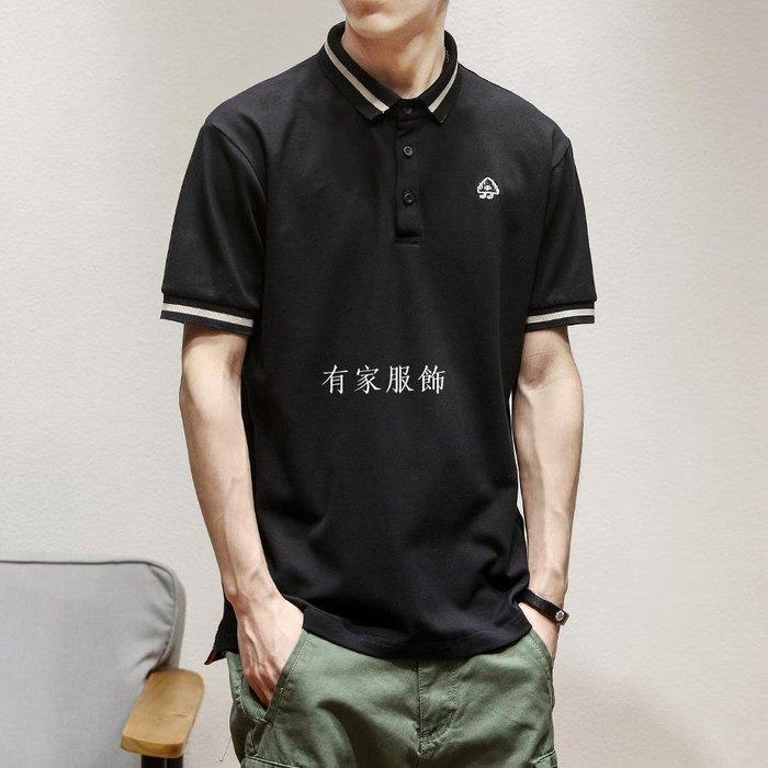 有家服飾夏季香港短袖男polo衫寬松日系潮牌純色刺繡翻領T恤寬松有領半袖