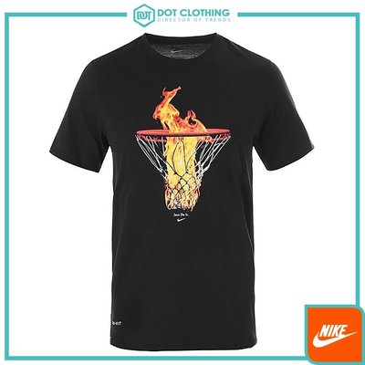 DOT 聚點 NIKE JUST DO IT DRI FIT 火焰 籃球 籃框 黑 短T 男款 AH3978-010