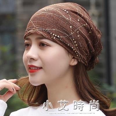 帽子女休閒透氣蕾絲頭巾帽金絲孕婦包頭帽 小艾時尚 全館免運 全館免運