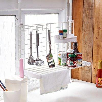 伸縮頂天立地雙桿廚房檯面收納架/瀝水架/置物架