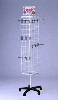 ☆成志金屬☆F-1 四方旋轉展示架,網架,可加購各式掛鉤,黑白兩色,網格5cm