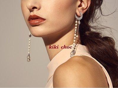 ♥kiki choc♥**925銀針* 滿版C型水鑽垂墜大小珍珠垂掛 流蘇長墜耳環