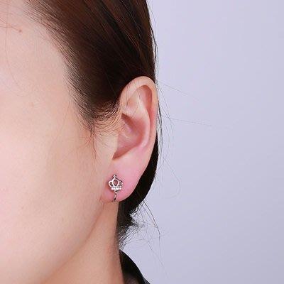 925純銀 耳 環 鋯石耳扣-鏤空皇冠可夾耳骨女飾品73ql55[獨家進口][巴黎精品]