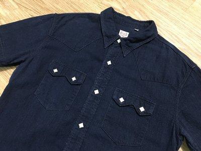 日本製美品THE FLAT HEAD GLORY PARK WESTERN SHIRT藍染赤耳布邊短袖牛仔襯衫 珍珠貝扣