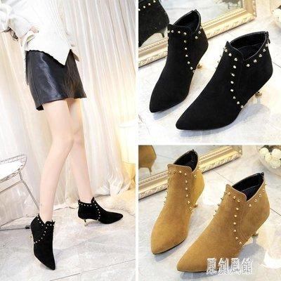 高跟短靴女秋冬2019新款 女靴百搭時尚單靴 瘦瘦靴英倫尖頭高跟鞋 LR13539