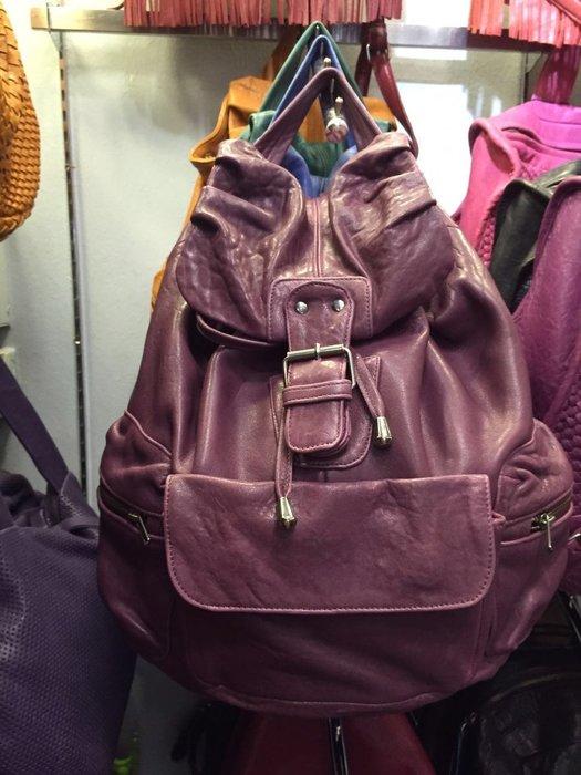 義大利設計師款Le queen 水洗小羊皮設計後背包 紫色 預購
